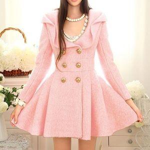 Aoisos Blush Pink Woolen Dress Coat